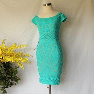 Bebe Bodycon Teal Tan Geometric Crochet Dress M/L